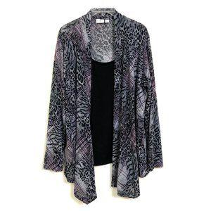 18W Cato Animal Print Waterfall Sweater w Faux Top